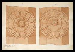 Two drawings of sculpture on the stupa rail at Bodhgaya (Bihar), made by Kittoe during his investigation of the site. January 1847. 2